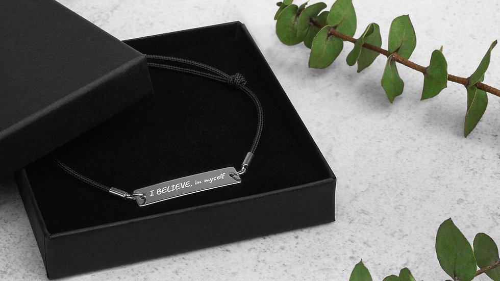 Engraved Silver Bar String Bracelet - I Believe
