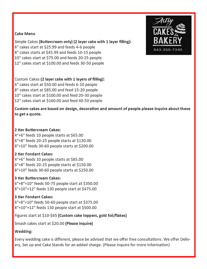 Artsy cakes and bakery cake menu and pri