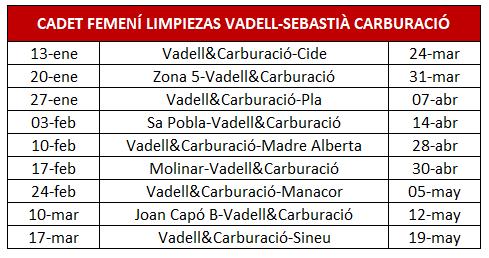 Calendari 2a fase Cadet femení 'Limpiezas Vadell & Sebastià Carburació'