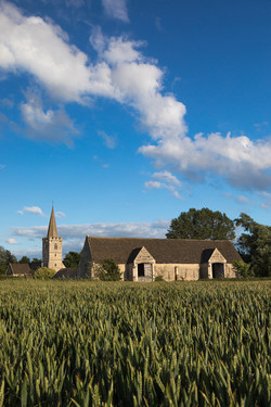Church and Tithe Barn in Summer