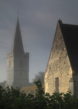 Church and Tithe Barn at Dawn