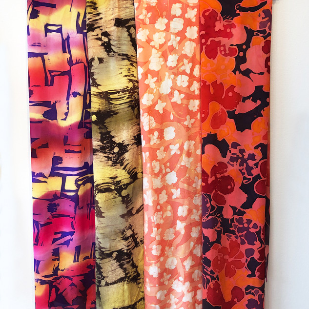Selection of hand-painted silk scarves