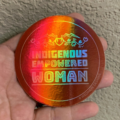 Holographic 3 inch Circle Sticker - Indigenous Empowered Woman
