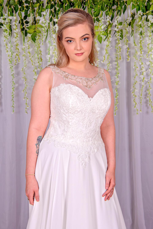 high neck mesh chiffon and lace wedding dress