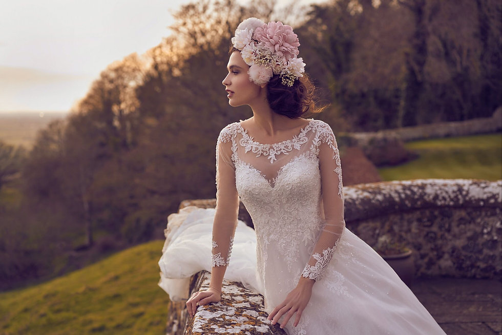 Bride wearing a Long sleeve lace wedding dress