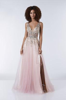 fitted pink slit in leg prom dress plunge neckline
