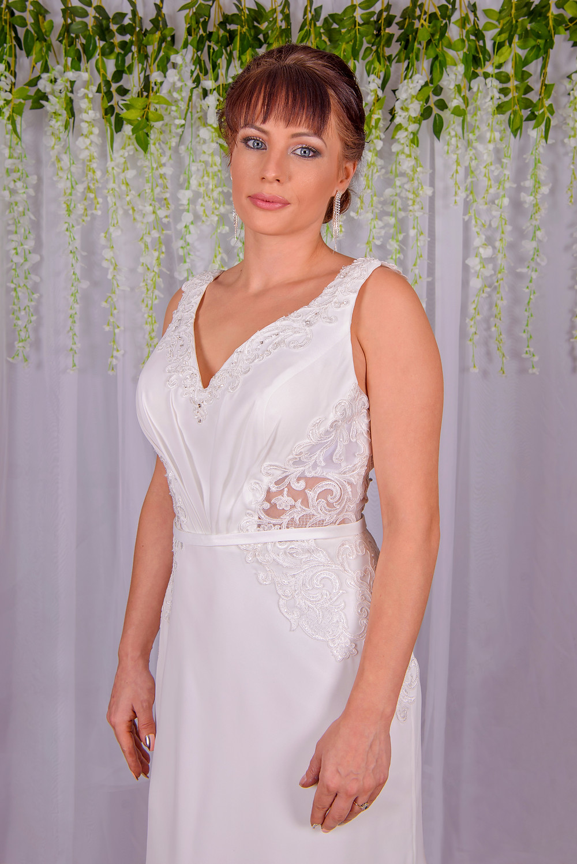 sexy slimline cut out wedding dress with plunge neckline