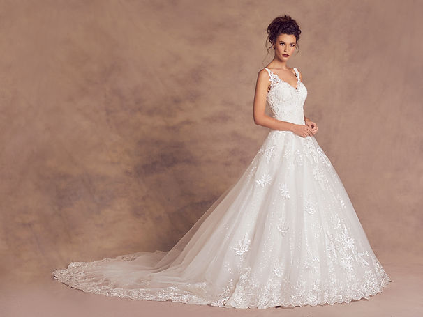 Lace Wedding Dress with Sleeves low neckline sparkly full skirt cathedral train