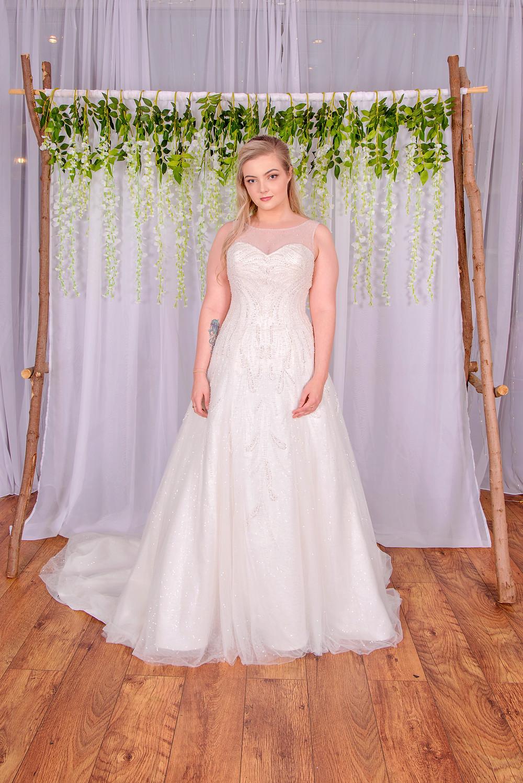 modern sparkly wedding dress sweetheart neckline