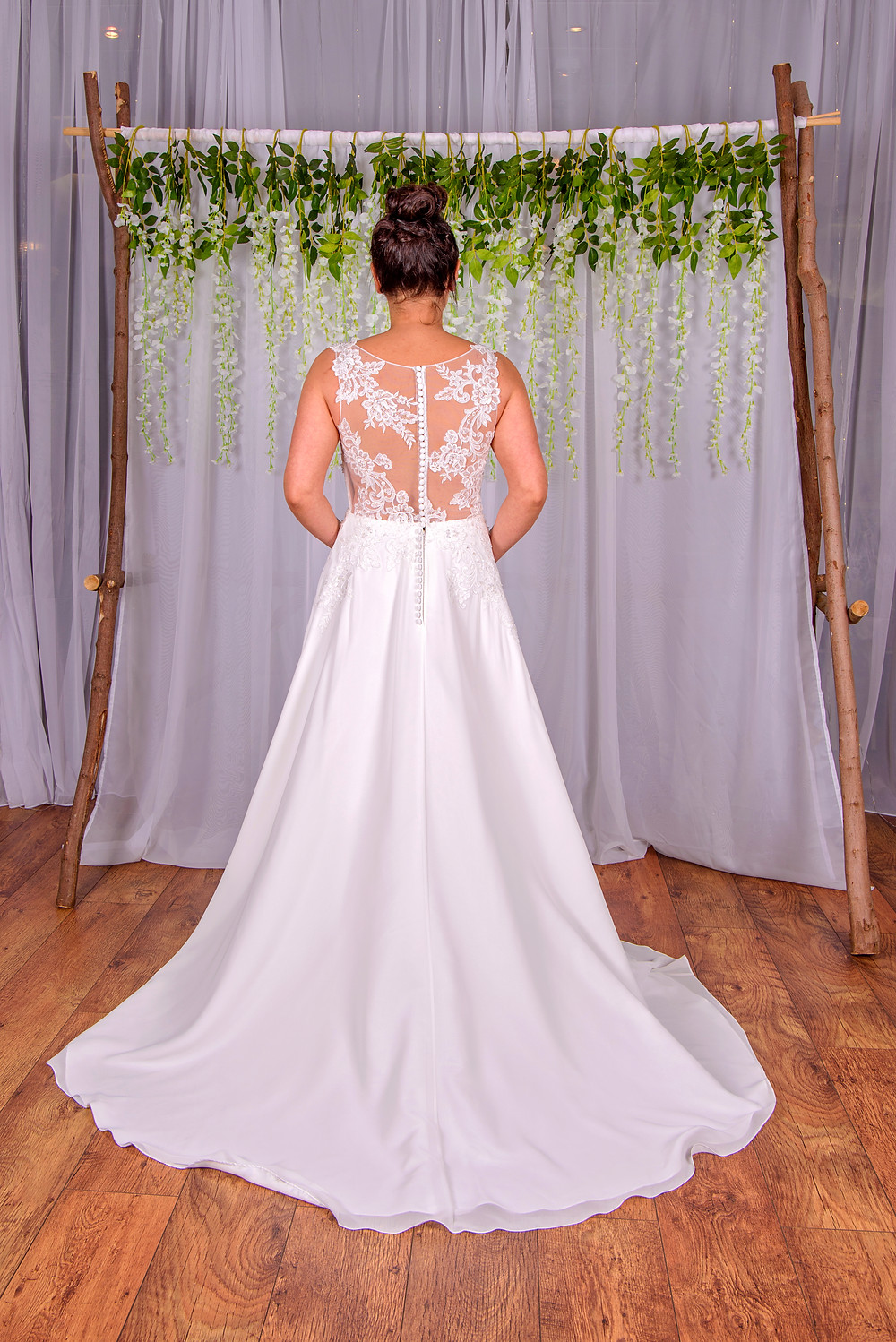 floral back wedding dress a line with chiffon skirt