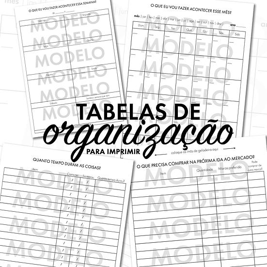 Tabelas de Organização para Imprimir