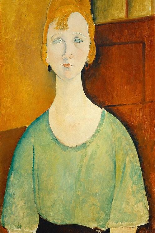Mint Woman in Green Decoupage