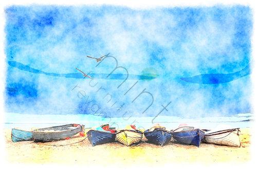 Mint Coastal Blue Decoupage
