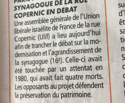 PARIS; L'AVENIR DE LA SYNAGOGUE DE LA RUE COPERNIC EN DEBAT
