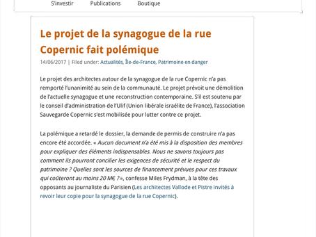 Le projet de la synagogue de la rue Copernic fait polémique