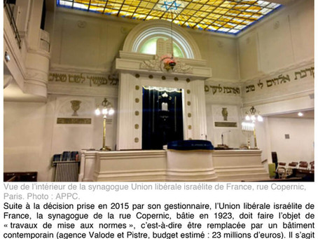 La synagogue de la rue Copernic en péril