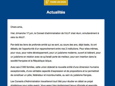 """""""Rapprochement"""" entre l'ULIF et le MJLF"""