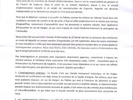 Lettre de l'ULIF en réponse aux articles parus dans la presse