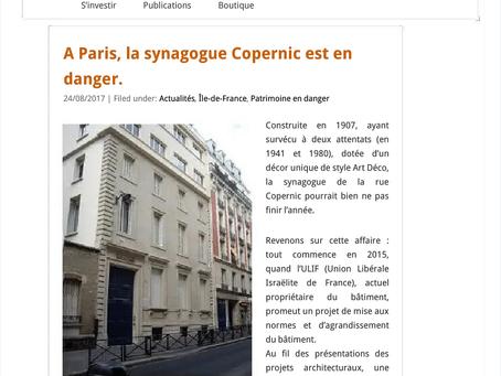 A Paris, la synagogue Copernic est en danger.