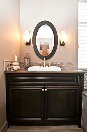 Dark stained wood traditional style custom bathroom vanity