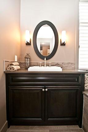 Dark stained wood traditional style custom bathroom vanity