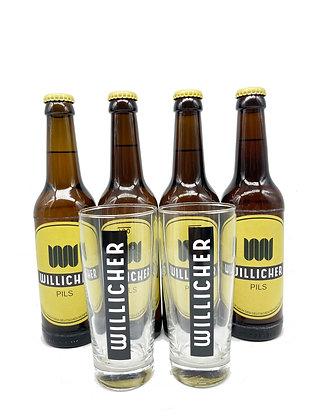 4 x 0,33 l Willicher Pils & 2 x 0,2 l Willicher-Gläser