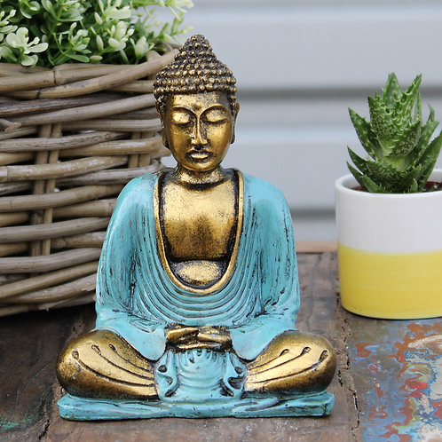 Hand Painted Buddha - Teal & Gold
