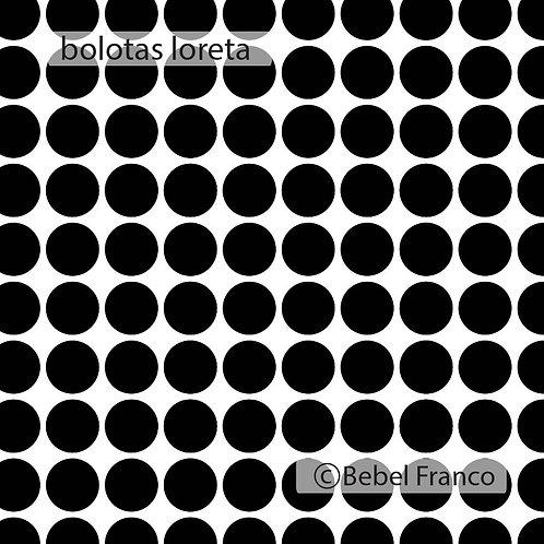 Tecido com estampa para decoração loreta bolas pretas com fundo branco
