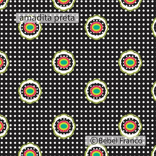 Tecido para decoração infantil estampa amadita preta