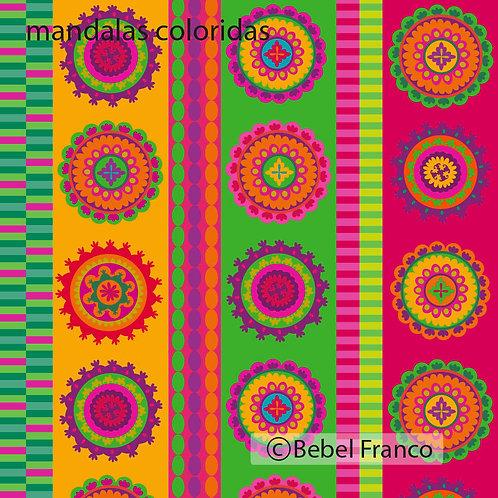 Tecido com estampa para decoração - mandalas coloridas