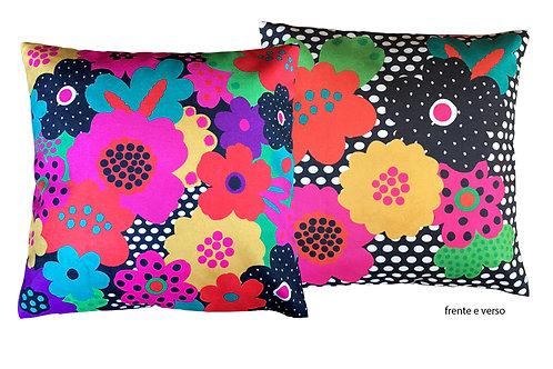 capa de almofada flores alegria