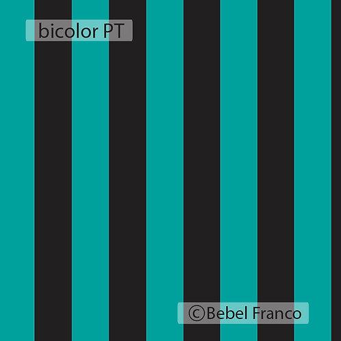 Tecido com estampa para decoração listra Bicolor Preto e Turquesa