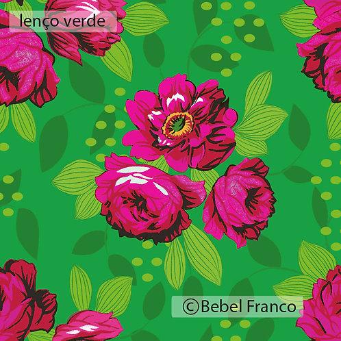 Tecido com estampa floral lenço verde