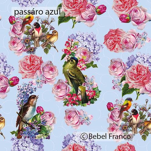 Tecido com estampa para decoração florida pássaro azul