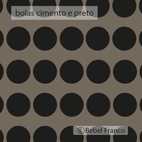 papel de parede bolas cimento e preto