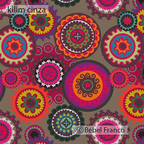Tecido com estampa para decoração - kilim cinza