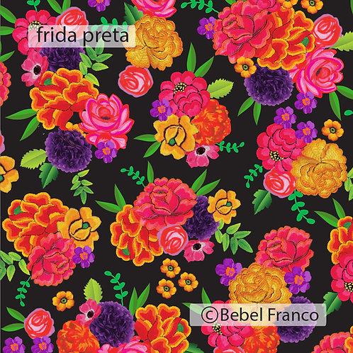papel de parede estampa florida frida preta