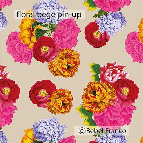 Tecido com estampa para decoração - floral bege pin-up