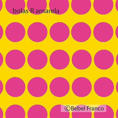papel de parede bolas rosas com fundo amarelo