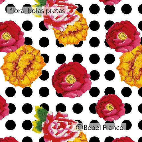 Tecido com estampa para decoração - floral com fundo de bolas pretas