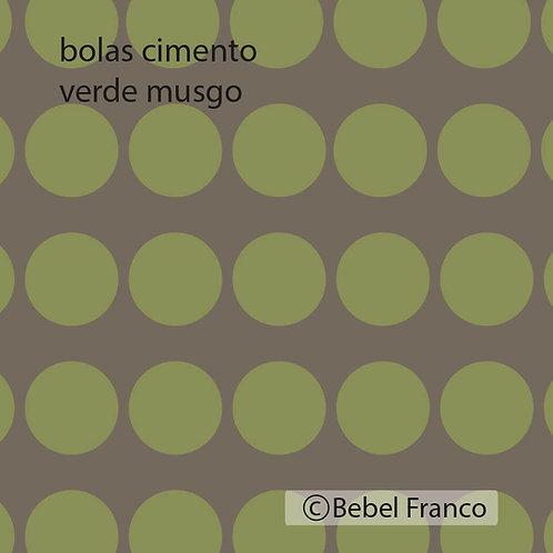 papel de parede bolas cimento verde musgo