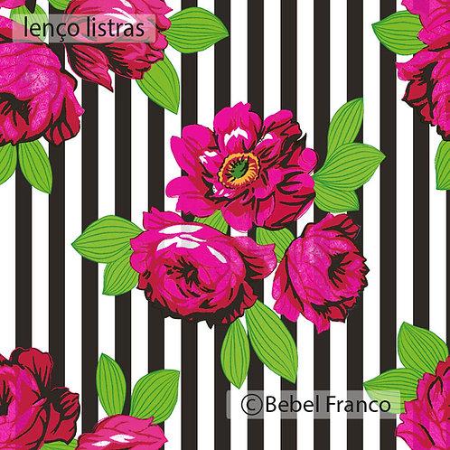 papel de parede estampa florida lenço listras pretas
