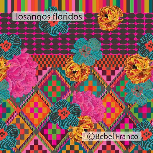 papel de parede estampado losangos floral