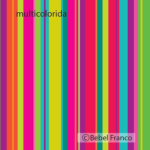papel de parede estampa listrada multicolorida