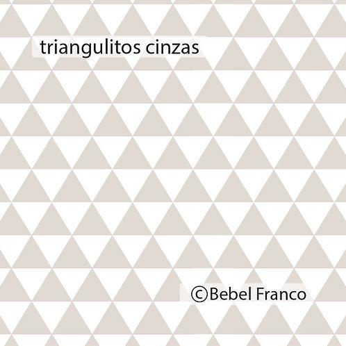 Tecido com estampa triangulitos cinzas