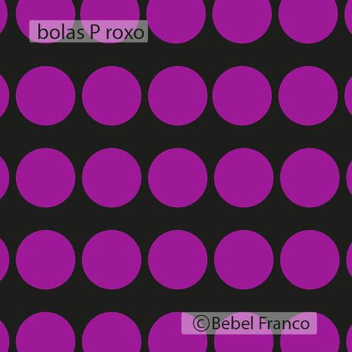 papel de parede bolas roxas com fundo preto