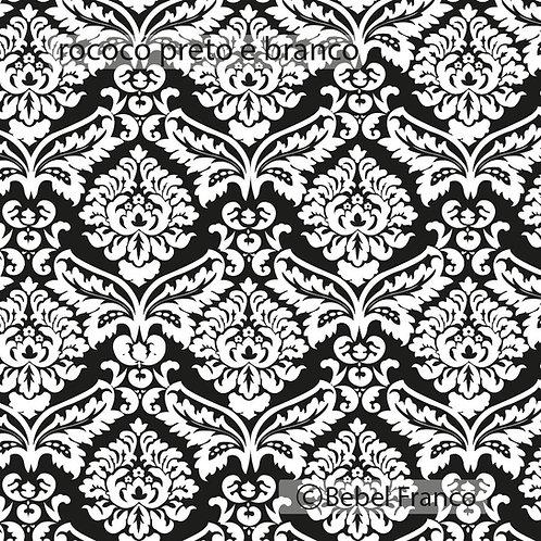 Tecido com estampa rocóco preto e branco