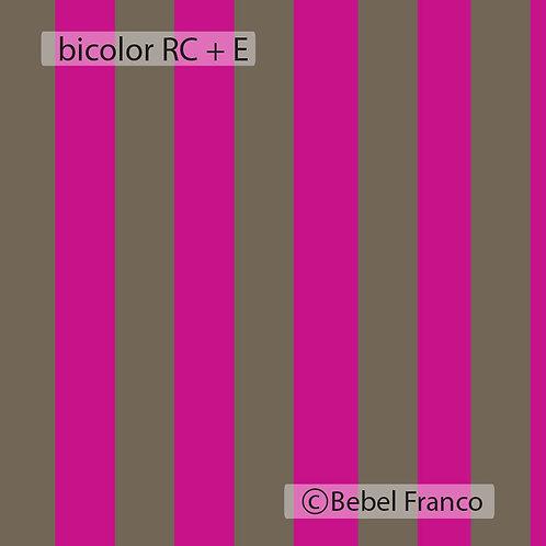 Tecido com estampa bicolor RC + E