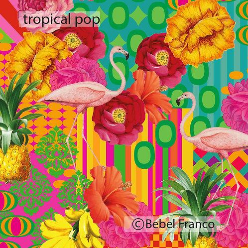 Tecido com estampa para decoração - tropical pop