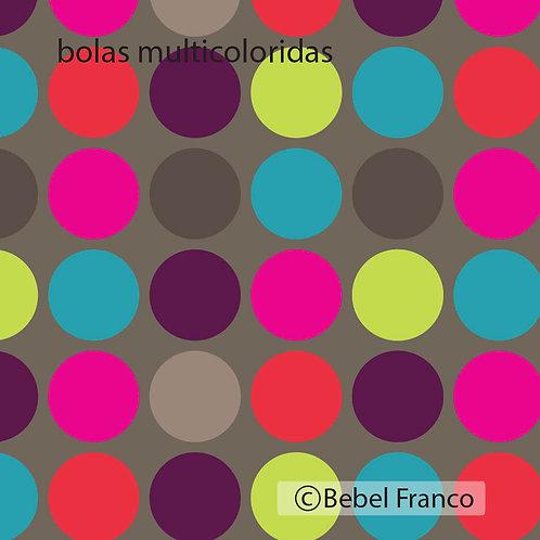papel de parede bolas multicoloridas fundo cinza